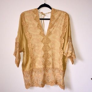 NWT MIND SET BY XCVI mustard blouse
